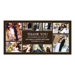 onyx collage wedding thank you card custom photo card zazzle