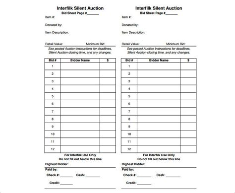 silent auction program template 12 silent auction bid sheet templates free word excel