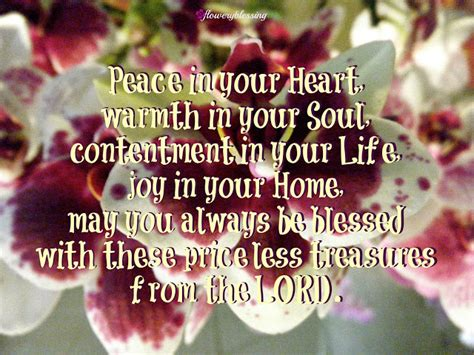 flowery blessing peace   heart warmth   soul contentment   life joy