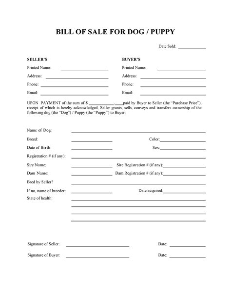 puppy sale contract pdf free or puppy bill of sale form pdf word do it yourself forms