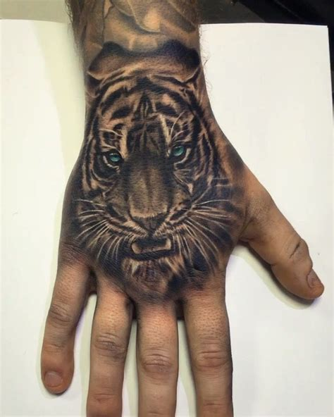 animal finger tattoos tiger related
