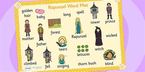 Tale Word Mat by Rapunzel Word Mat Images Rapunzel Prince Witch Tower