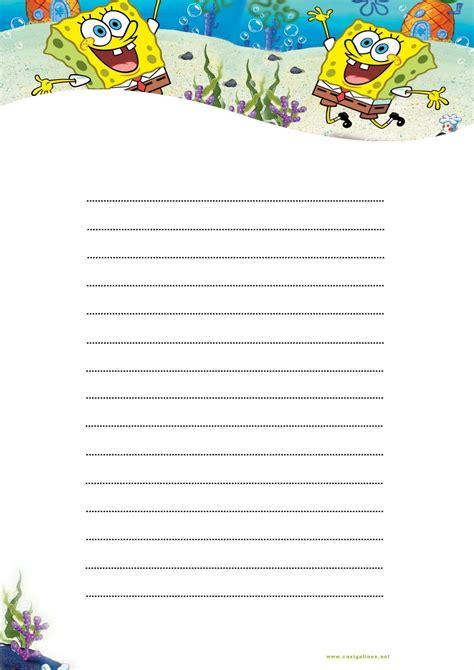 hojas para escribir cartas hoja de papel bob esponja para escribir cartas imprimir