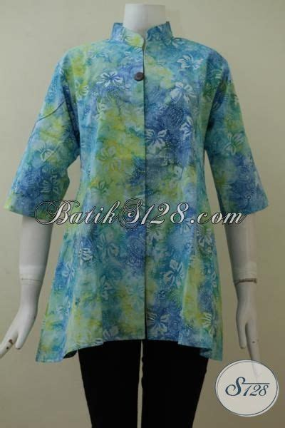 Batik Sarimbit Gradasi Doby Cap pakaian batik wanita modern warna gradasi blus batik