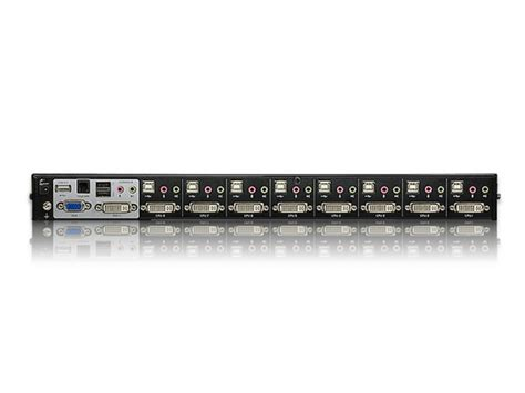 8 kvm switch usb aten cs1768 switch kvm dvi a 8 porte con audio e hub usb 2