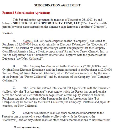 subordination agreement template subordination agreement sle subordination agreement