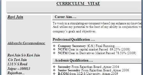 Resume Format For Bcom Freshers In Word Bcom Experience Resume Format
