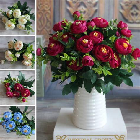 decorative flowers for home 2016 new multi color spring artificial fake peony flower