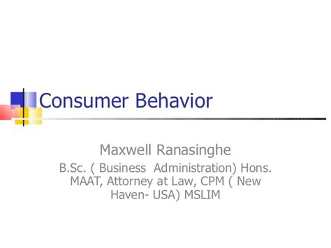 Consumer Behaviour Mba Notes Ppt by Introduction To Consumer Behavior