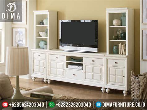 layout ruang buffet set buffet tv minimalis modern putih mewah jepara terbaru