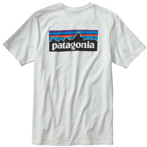 T Shirt Cotton patagonia s p 6 logo cotton t shirt white