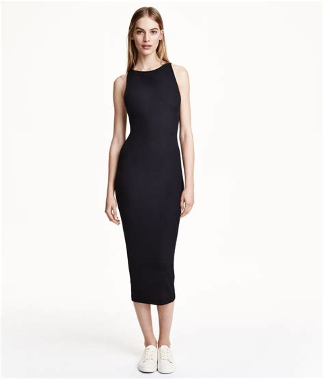 Hnm Dress h m ribbed dress in black lyst