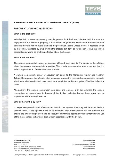 Agreement Of Sale Template For A Vehicle faq removing vehicles from common property nsw