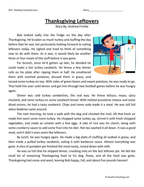 reading comprehension test in grade 5 reading comprehension worksheet thanksgiving leftovers