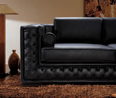 Black Leather Sofa Set He 707 Leather Sofas