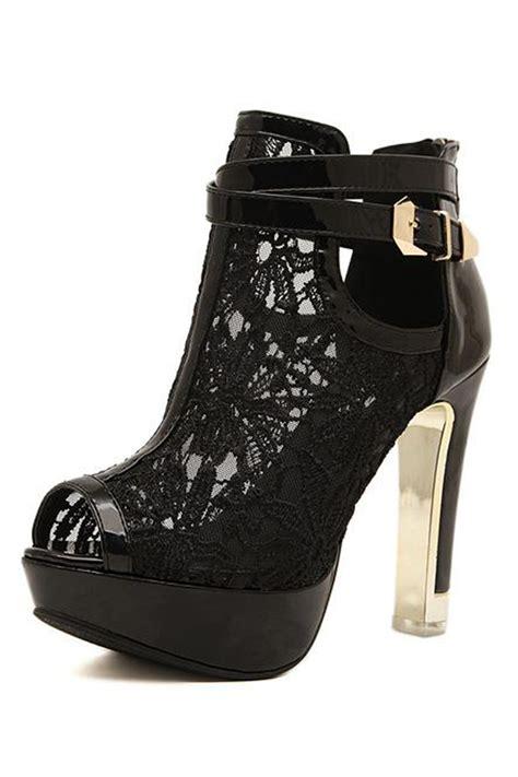 fashion woman mesh paneled peep toe high heels oasap com