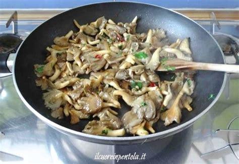 cucinare funghi coltivati funghi pleurotus trifolati ricetta il cuore in pentola