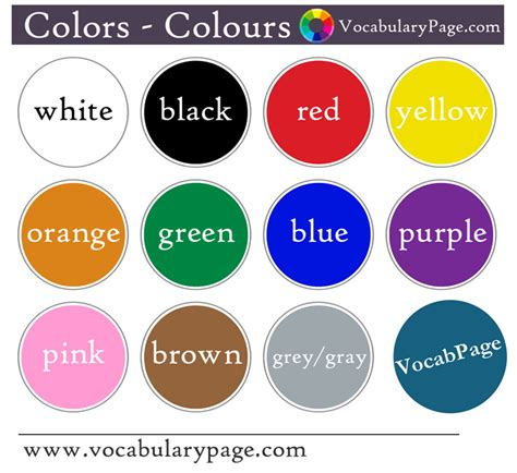 list of colors a z vocabularypage colours in