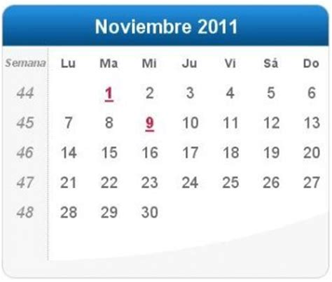 Calendario Noviembre 2011 Calendario Noviembre 2011 Definanzas