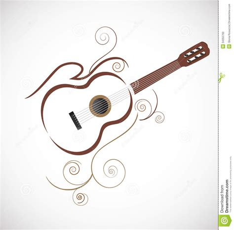 stylized guitar logo stock photo image 34355760