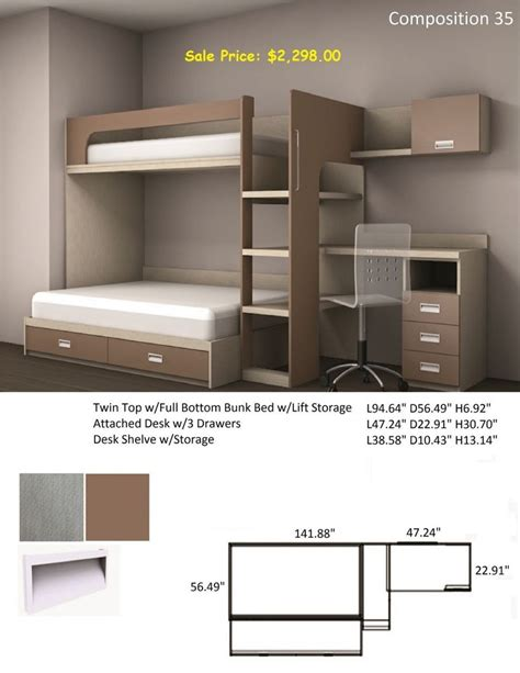 bed on top desk on bottom twin top w full bottom bunk beds w lift storage desk