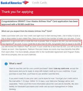 bank of america business credit card application strange approval for bank of america alaska airlines