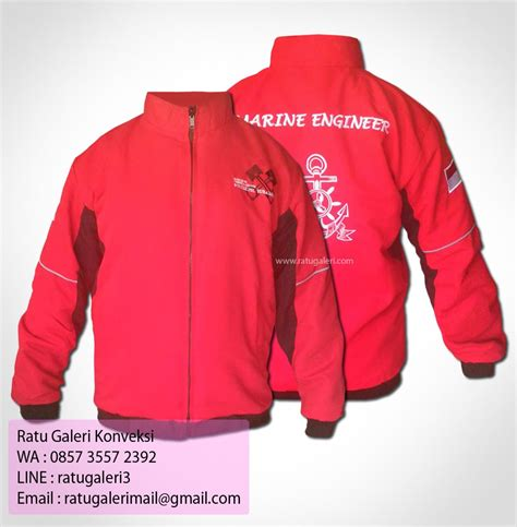 desain jaket merah hasil produksi dan desain jaket marine engineerkonveksi