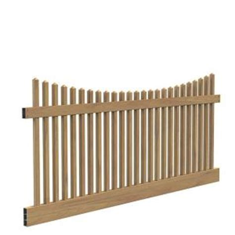 picket fence sections home depot veranda 4 ft x 8 ft chestnut vinyl 2 rail scalloped