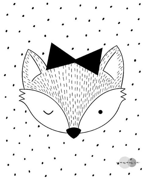 Little Fox Print, Black And White Nursery Print