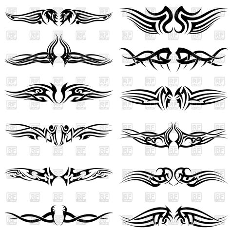 set of tribal abstract tattoos vector free download set of tribal tattoos royalty free vector clip art image