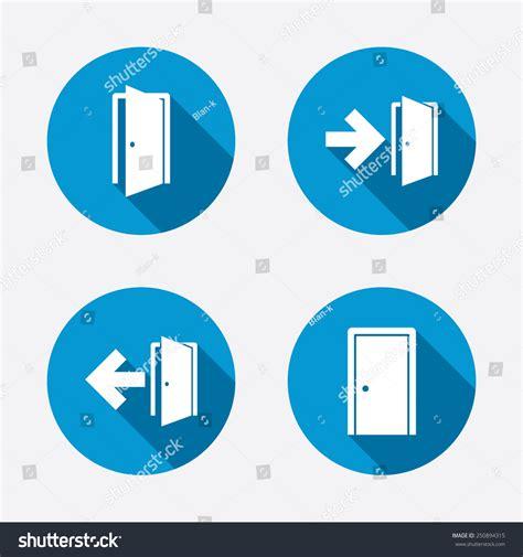 emergency exit icons door with arrow sign stock vector doors icons emergency exit arrow symbols stock vector