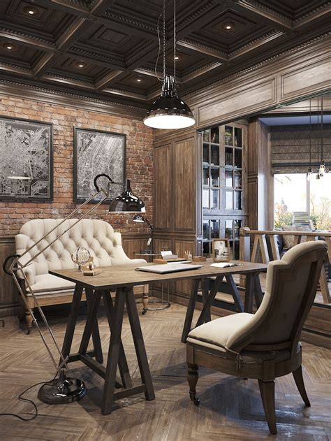 industrial interiors home decor interiors office designs rustic office and interiors