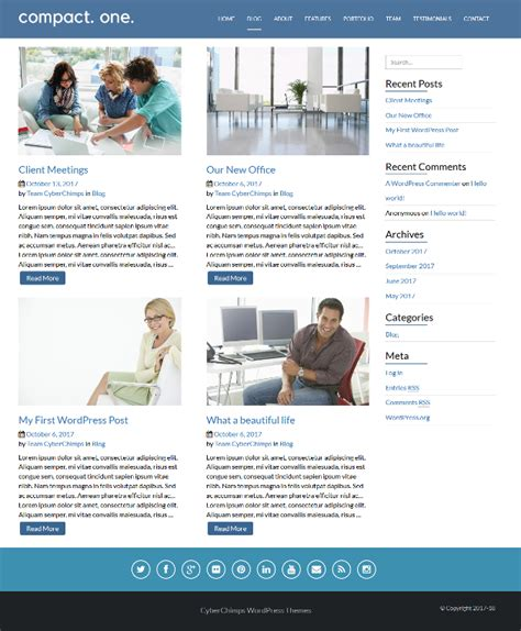 theme x blog page compact one power packed free one page wordpress theme