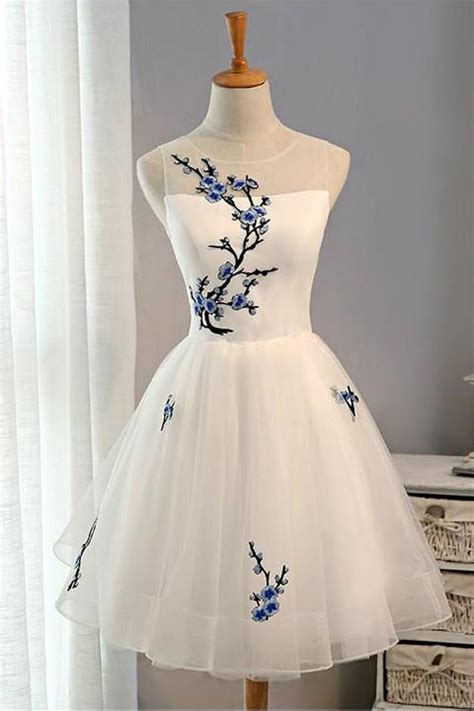 embroidery flowers cheap short homecoming dress prom
