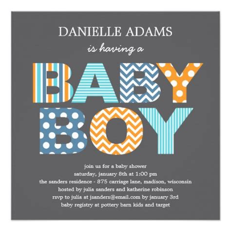 cutout letters baby shower invitation boy 5 25 quot square