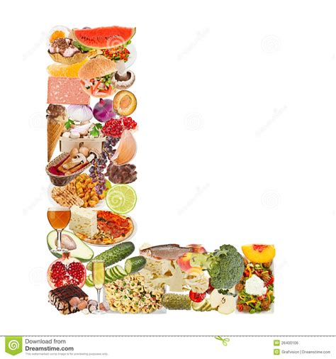 up letter with food letter l made of food royalty free stock image image