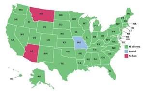 ban map map of texting bans
