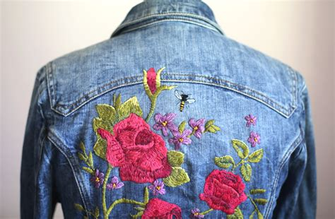 Flower Embroidered Denim Jacket my diy embroidered denim jacket on what i wore