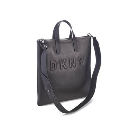 dkny womens debossed logo tote bag black  uk