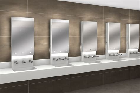 porte bagni pubblici pareti in hpl e vetro lavabi in corian e sistemi per