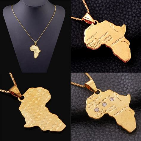 africa map gold necklace africa map jewelry 18k gold plated necklace
