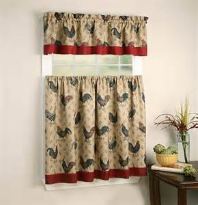 rooster printed kitchen curtain tier and valance beige 54x15 27x36