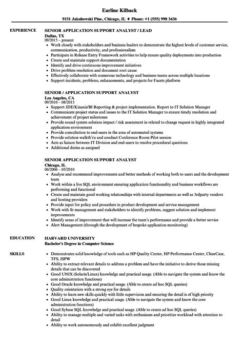 senior application support analyst resume sles velvet