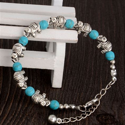 How To Make Handmade Accessories - handmade elephant turquoise bracelet utopian flower