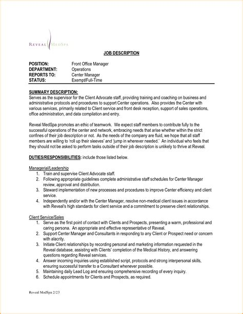 Front Desk Manager Responsibilities by Doc 728942 Office Supervisor Description Office