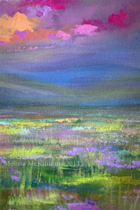 colourful prairie and big sky abstract landscape painting