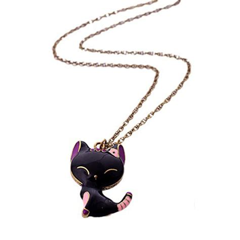black smiling cat necklace