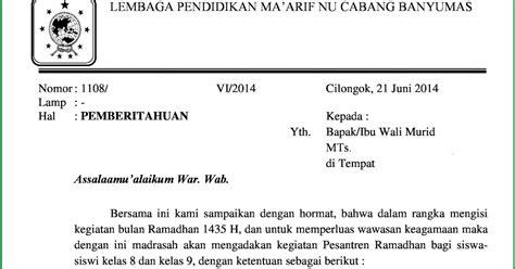surat pemberitahuan pesantren kilat ramadhan 1435 h