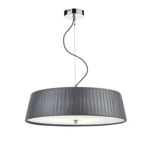 Grey Ceiling Light Modern Ceiling Pendant Slimline Wheel In Pleated Grey With Diffuser