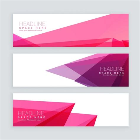 header design pink abstract pink geometric shape banners vector free download